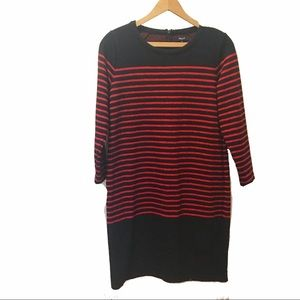 Madewell black and red striped dress